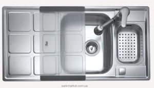 Мойка для кухни прямоугольная Teka Cuadro 60 B, 1.5 чаши, оборачиваемое крыло, врезная, нержавеющая сталь, хром 30000766