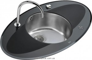 Мойка для кухни овальная Teka I-Sink 95 DX крыло есть с обеих сторон, врезная, нержавеющая сталь и черное закаленное стекло, хром 13129009