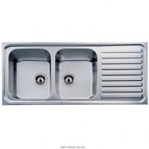 Мойка для кухни прямоугольная Teka CLASSIC 2B 1D, 2 чаши, оборачиваемое крыло, врезная, нержавеющая сталь, хром 10119023