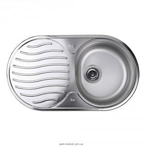 Мойка для кухни овальная Teka DR 78 1B 1D оборачиваемое крыло, врезная, нержавеющая сталь, хром микротекстура 10130003