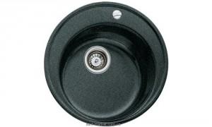 Мойка для кухни круглая TEKA CENTROVAL 45 TG врезная, гранит, черный металлик 88578