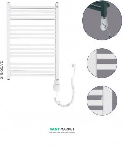 Электрический полотенцесушитель Instal-projekt Stick Electro 500х740х83 лесенка белый STI-50/70+HOTS-03С1
