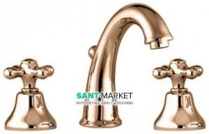 Смеситель для раковины двухвентильный с донным клапаном Fiore Margot бронза 26062800 Old Bronze
