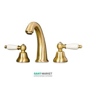 Смеситель для раковины двухрычажный с донным клапаном Fiore Margot Coloniale бронза 02062800 Old Bronze