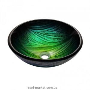 Раковина для ванной накладная Kraus зелено-бирюзовая GV-391-19mm