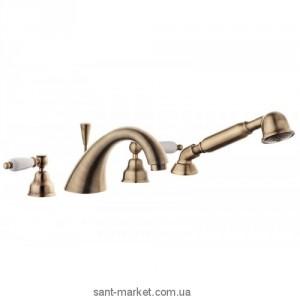 Смеситель двухвентильный на борт ванны с душем EMMEVI коллекция Deco Ceramic бронза BR121120