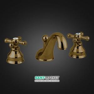 Смеситель для раковины двухвентильный скрытый с донным клапаном EMMEVI Deco Classic бронза BR12033