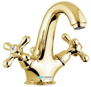 Смеситель для раковины двухвентильный с донным клапаном EMMEVI коллекция Deco Classic золото OR12013