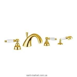 Смеситель двухвентильный на борт ванны с душем EMMEVI коллекция Deco Ceramic золото ОR121120