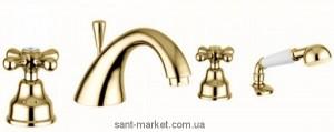 Смеситель двухвентильный на борт ванны с душем EMMEVI коллекция Deco Classic золото OR12120