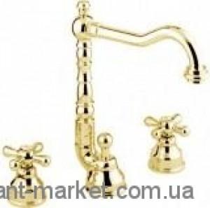 Смеситель для раковины двухвентильный с донным клапаном высокий EMMEVI Deco Old золото OR12643