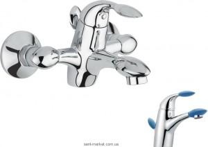 Смеситель однорычажный для ванны с коротким изливом EMMEVI коллекция Trilly хром/синий CBL51001