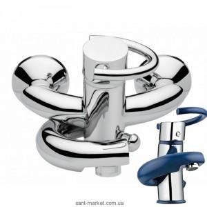 Смеситель однорычажный для ванны с коротким изливом EMMEVI коллекция Twist хром/синий CBL6601