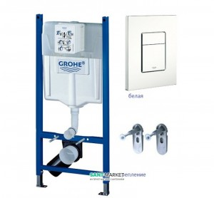 Система инсталляции для подвесного унитаза Grohe Rapid SL 3в1 50х113х14,5 38878SH0 клавиша белая