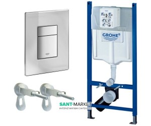 Система инсталляции для подвесного унитаза Grohe Rapid SL 3в1 50х113х14,5 388780A0 клавиша зеркальная