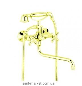 Смеситель двухвентильный с длинным изливом и душем Bugnatese коллекция Old'800 золото OLDDO086