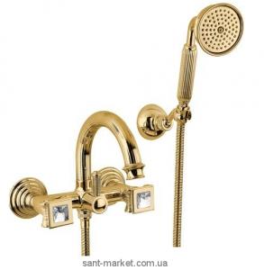 Смеситель двухвентильный с душем со Сваровски Bugnatese коллекция Olympia золото DAFDO8402K
