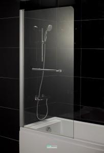 Штора на ванну Eger 80х150 стекло тонированное, левая 599-02L grey