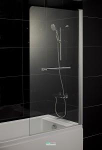 Штора на ванну Eger 80х150 стекло тонированное, правая 599-02R grey