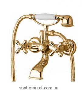 Смеситель двухвентильный для ванны с душем Bugnatese коллекция Lady золото LADDO900