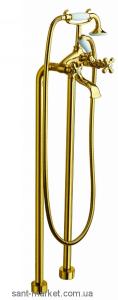 Смеситель двухвентильный напольный (отдельностоящий) с душем La Torre Leonardo золото 23029 gold