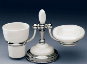 F.L.A.B. Держатель мыльницы/стакана настольный Egizia Хром/Керамика 439