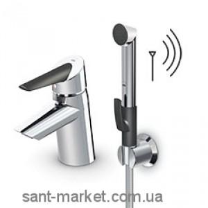 Смеситель для раковины электронный однорычажный с донным клапаном и душем Oras Optima хром/черный 2703F