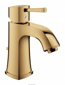 Смеситель для раковины однорычажный с донным клапаном Grohe Grandera золотой рассвет 23303GL0