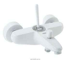 Смеситель с джойстиком для ванны с коротким изливом Grohe коллекция Eurodisc Joy белый 23431LS0