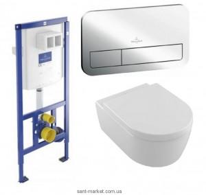 Унитаз Villeroy & Boch Avento 5656HR01 + Сиденье + Инсталляция ViConnect 92246100 + Кнопка смыва 92249061