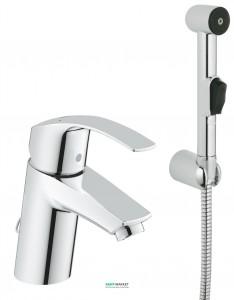 Смеситель для раковины однорычажный с гигиеническим душем Grohe коллекция Eurosmart New 23124002