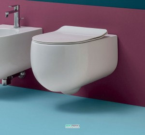 Унитаз подвесной Kerasan коллекция Flo белый 311101 с крышкой Soft Сlose 319101