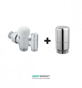 Комплект термостатический кран + Запорно-регулирующий клапан Caleido сатин 101021CRS