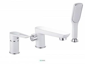 Смеситель однорычажный на борт ванны с душем  Imprese Breclav хром/белый 85245W