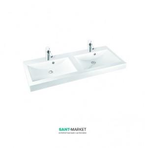 Раковина для ванной на тумбу двойная Marmorin коллекция Moira Bis белая 280 120 222 xx x