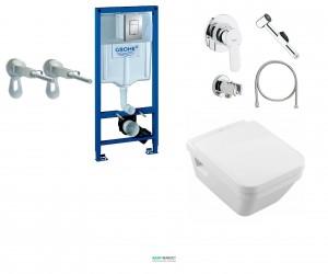 Комплект Grohe Rapid SL 3 в 1 + Консольный унитаз Villeroy & Boch Architectura + набор гигиенического душа 38775H17