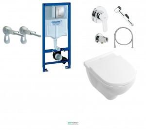Набор:  Инсталляционная система Grohe + подвесной унитаз Villeroy & Boch O.Novo + набор гигиенического душа 38770H17