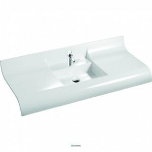 Раковина для ванной на тумбу умывальник-столешница Marmorin коллекция Onda белая 330 120 022 xx x