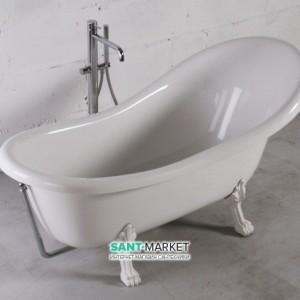 Ванна мраморная отдельностоящая Буль-Буль Lady Hamilton 173x82.5x64.5 Белая ванна + белые ноги + хромрованный перелив