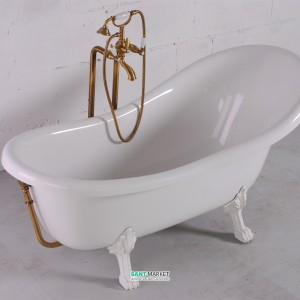 Ванна мраморная отдельностоящая Буль-Буль Lady Hamilton 173x82.5x64.5 Белая ванна + белые ноги + бронзовый перелив