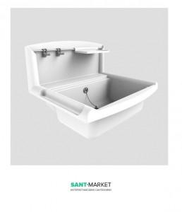 Мойка прямоугольная Sanit Multiset 55х45 хна стену (настенная), пластик, белая 60.005.B6.0000