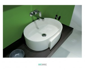 Раковина для ванной накладная Flaminia коллекция Roll белая RL56L