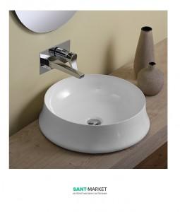 Раковина для ванны накладная круглая Simas Sharp 50х50х14.5 белая