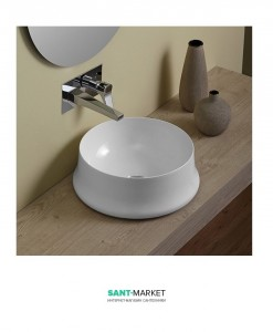 Раковина для ванны накладная круглая Simas Sharp 42х42х16 белая