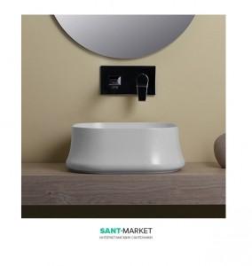 Раковина для ванны накладная квадратная Simas Sharp 42х42х16 белая