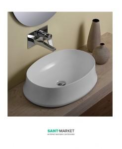 Раковина для ванны накладная овальная Simas Sharp 60х42х16 белая