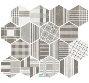 Плитка напольная Equipe Hexatile Cement Geo Grey 17,5*20 22101
