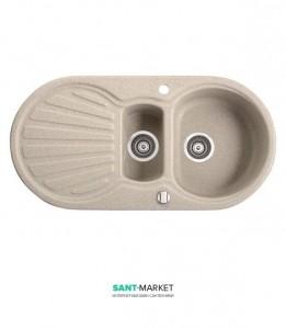 Мойка для кухни овальная Marmorin Korund 1,5k 1o крыло слева, врезная, искусственный камень 190 513 0xx