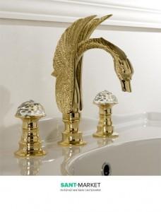Смеситель для раковины двухрычажный Treemme Cigno с донным клапаном золото 7116 DD