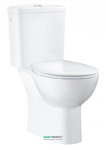 Унитаз напольный безободковый Grohe Bau Ceramic со смывным бачком и сиденьем (укороченный) альпин-белый 39347000